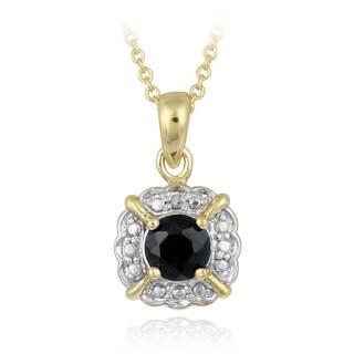 Glitzy Rocks Goldtone Sapphire and Diamond Accent Square Solitaire Necklace