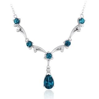 Glitzy Rocks Sterling Silver Blue Zirconia and White Sapphire Necklace