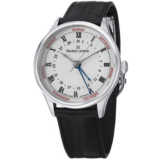 Maurice Lacroix Men's MP6507-SS001-112 'MasterPiece' White Dial Date Day Strap Watch