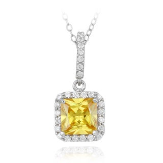 Icz Stonez Sterling Silver Yellow Cubic Zirconia Square Necklace