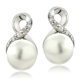 DB Designs Sterling Silver Diamond Accent and Pearl Infinity Earrings (8 mm)