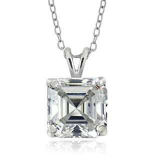 Icz Stonez Sterling Silver 8mm Square-cut Cubic Zirconia Necklace