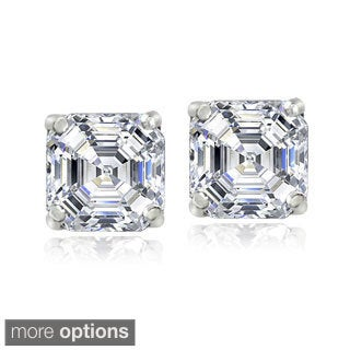Icz Stonez Sterling Silver 6 mm Square-cut Cubic Zirconia Earrings