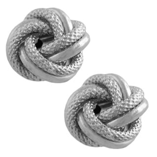 Fremada 10k White Gold Florentine Polished Love Knot Earrings