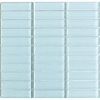 Lush 'Vapor' Ice Blue 1x4-inch Mosaic Glass Tiles (10 Sheets)