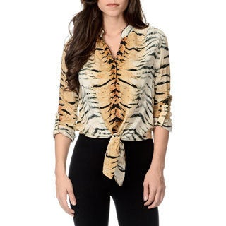 Chelsea & Theodore Women's Animal Print Knot-front Top