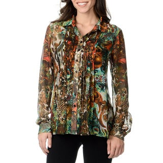 Grace Elements Women's Sheer Animal Print Blouse with Cami