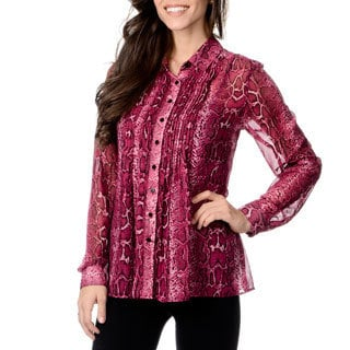 Grace Elements Women's Mulberry Snake Print Sheer Button-down Shirt and Cami