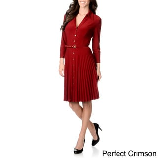Grace Elements Women's Pleated Shirt Dress