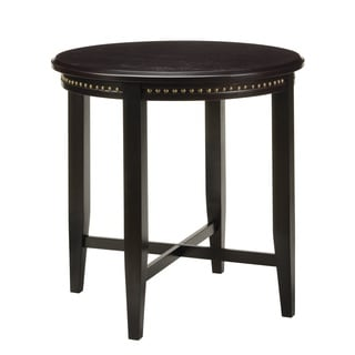 Tuscon Espresso Nail Head Trimmed Round Wooden Pub Table