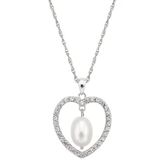 Pearlyta Sterling Silver CZ Heart Freshwater Pearl Necklace (8-8.5 mm)