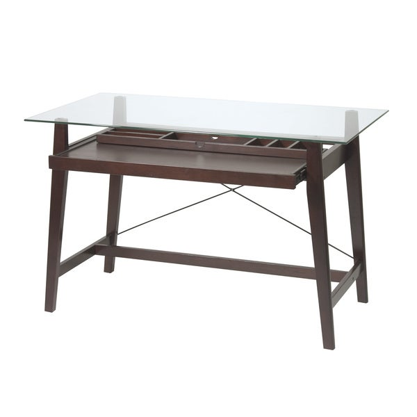 Tribeca 42 Inch Espresso Glass Top Computer Desk