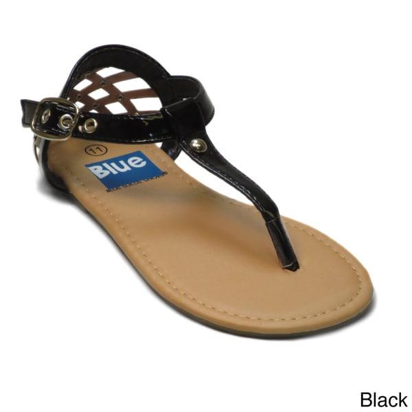 Blue Girls 'K-Art' Cut-out Back T-strap Sandals