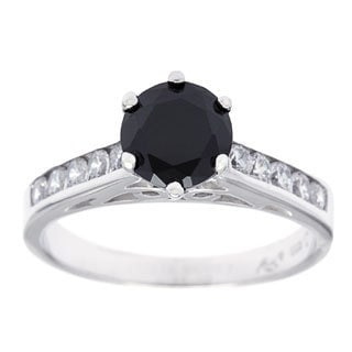 Sterling Essentials Silver Channel Set Black Cubic Zirconia Solitaire Ring