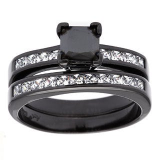 Sterling Essentials Black Rhodium-plated Silver Princess-cut Black CZ Engagement Ring Set