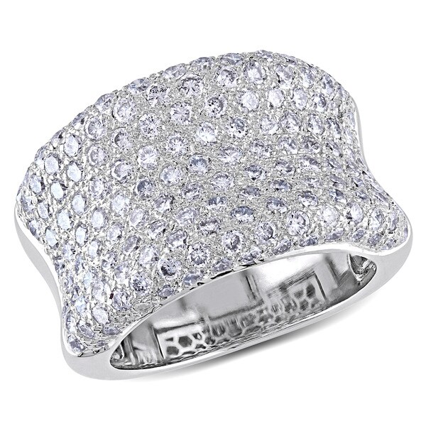 Miadora 18k White Gold 3ct TDW Pave Diamond Ring (G-H, VS1-VS2)