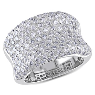 Miadora 18k White Gold 3ct TDW Pave Diamond Ring (G-H, VS1-VS2)
