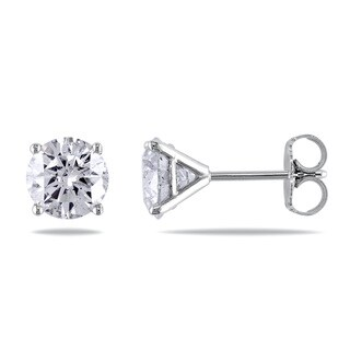Miadora 14k White Gold 2 1/6ct Round Diamond Earrings (H-I, I2-I3)