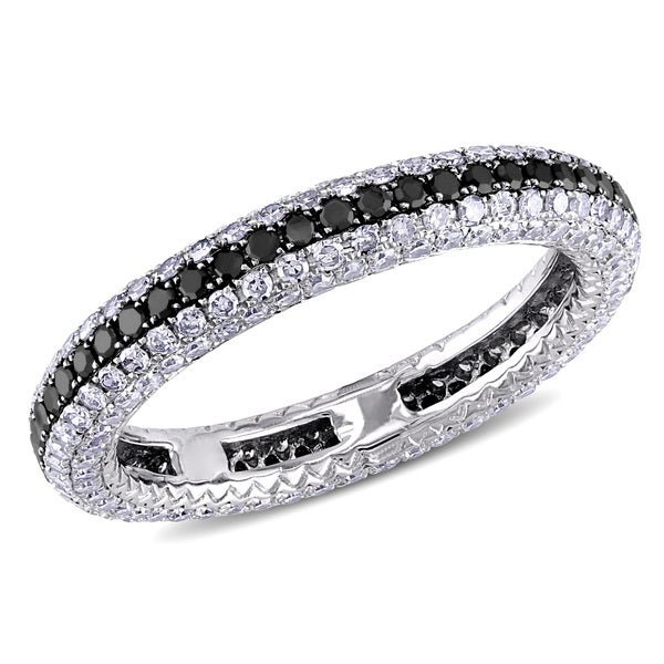 Miadora 14k Gold 1.25ct TDW Black and White Diamond Eternity Anniversary Ring (G-H, SI1-SI2)