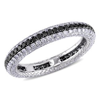 Miadora 14k Gold 1.25ct TDW Black and White Pave Diamond Ring (G-H, SI1-SI2)