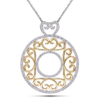 Miadora Signature Collection 14k Two-tone Gold 3/4ct TDW Filigree Diamond Circle Necklace (G-H, I1-I2)