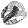 Miadora 18k White Gold 2ct TDW Black and White Diamond Ring (F-G, VS1-VS2)