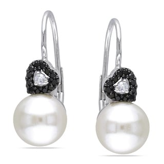 Miadora 10k White Gold FW Pearl and 1/6ct TDW Black and White Diamond Earrings (H-I, I2-I3)