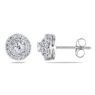 Miadora 14k White Gold 1/2ct TDW Diamond Halo Earrings (G-H, I1-I2)