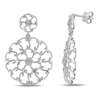 Miadora 14k White Gold 1/5ct TDW Diamond Flower Earring (G-H, SI1-SI2)
