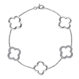 Miadora 14k White Gold 1/5ct TDW Diamond Flower Bracelet (G-H, SI1-SI2)