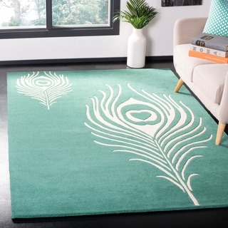 Safavieh Handmade Soho Teal/ Ivory New Zealand Wool/ Viscose Rug (3'6 x 5'6)