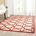 Safavieh Handmade Moroccan Cambridge Ivory/ Rust Wool Rug (5' x 8')