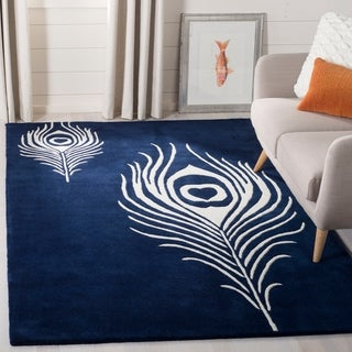 Safavieh Handmade Soho Navy/ Ivory New Zealand Wool/ Viscose Rug (5' x 8')