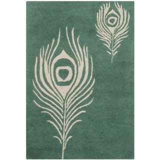 Safavieh Handmade Soho Teal/ Ivory New Zealand Wool/ Viscose Rug (2' x 3')