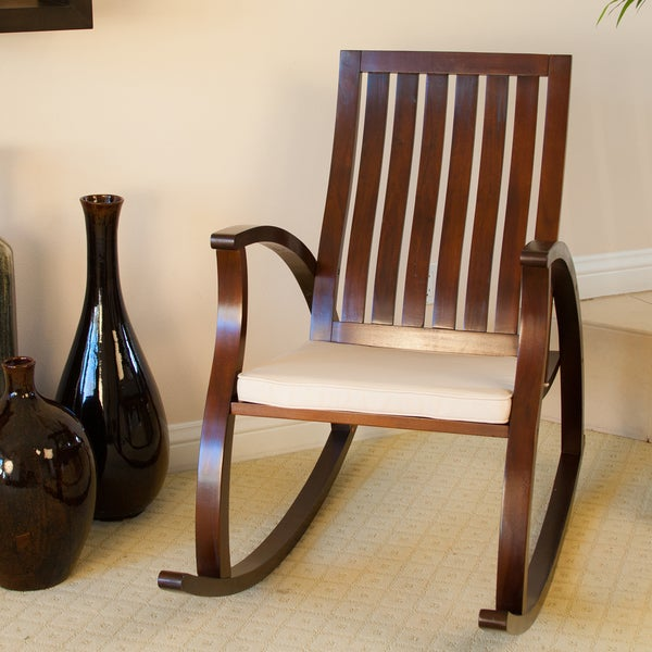 Knight home abraham brown mahogany wood rocking chair w cushion