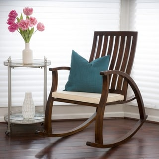 Christopher Knight Home Abraham Brown Mahogany Wood Rocking Chair w/ Cushion