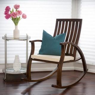 Christopher Knight Home Abraham Brown Mahogany Wood Rocking Chair w/ Cushion