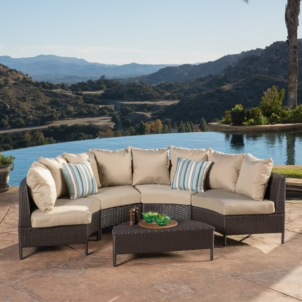Christopher Knight Home Newton Outdoor 5-piece Dark Brown Wicker Lounge Set