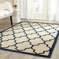 Safavieh Handmade Moroccan Cambridge Ivory/ Navy Wool Rug (8' x 10')