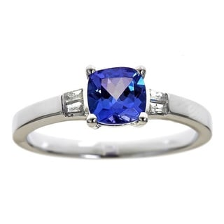 D'Yach Sterling Silver Tanzanite and Diamond Accent Ring