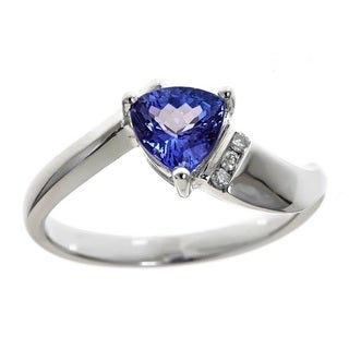 Anika and August D'Yach Sterling Silver Trillion-cut Tanzanite and Diamond Accent Ring