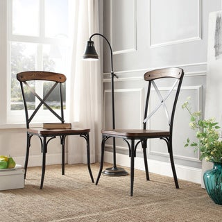 TRIBECCA HOME Nelson Industrial Modern Rustic Cross Back Dining Chair (Set of 2)
