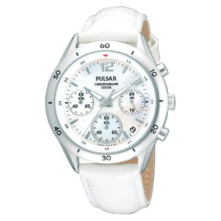 Pulsar Women's PT3085 'Classic Chronograph' White Leather Strap Watch