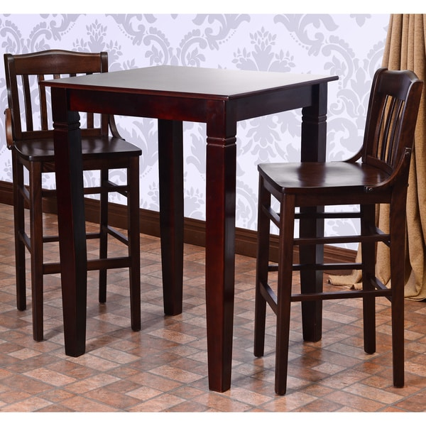Library Solid Wood 3 Piece Bar Table Set 16023692
