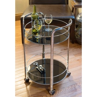 DarLiving Black Chrome Rolling Bar Cart
