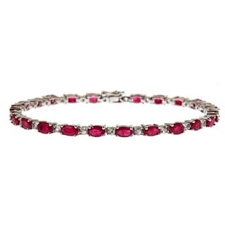 Anika and August D'Yach Sterling Silver 8 3/4ct TGW Ruby and White Sapphire Fashion Bracelet