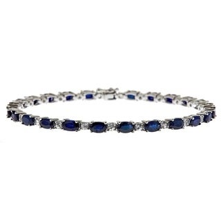 Anika and August D'Yach Sterling Silver 8 9/10ct TGW Blue/ White Sapphire Fashion Bracelet