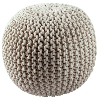 Cotton Rope 16-inch Off-white Pouf