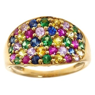 Anika and August 10k Yellow Gold 2 4/9ct TGW Multicolored Gemstone Fashion Ring