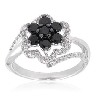 D'sire Sterling Silver 3/8ct TDW Black Spinel & White Diamond Floral Ring (I-J, I1-I2)